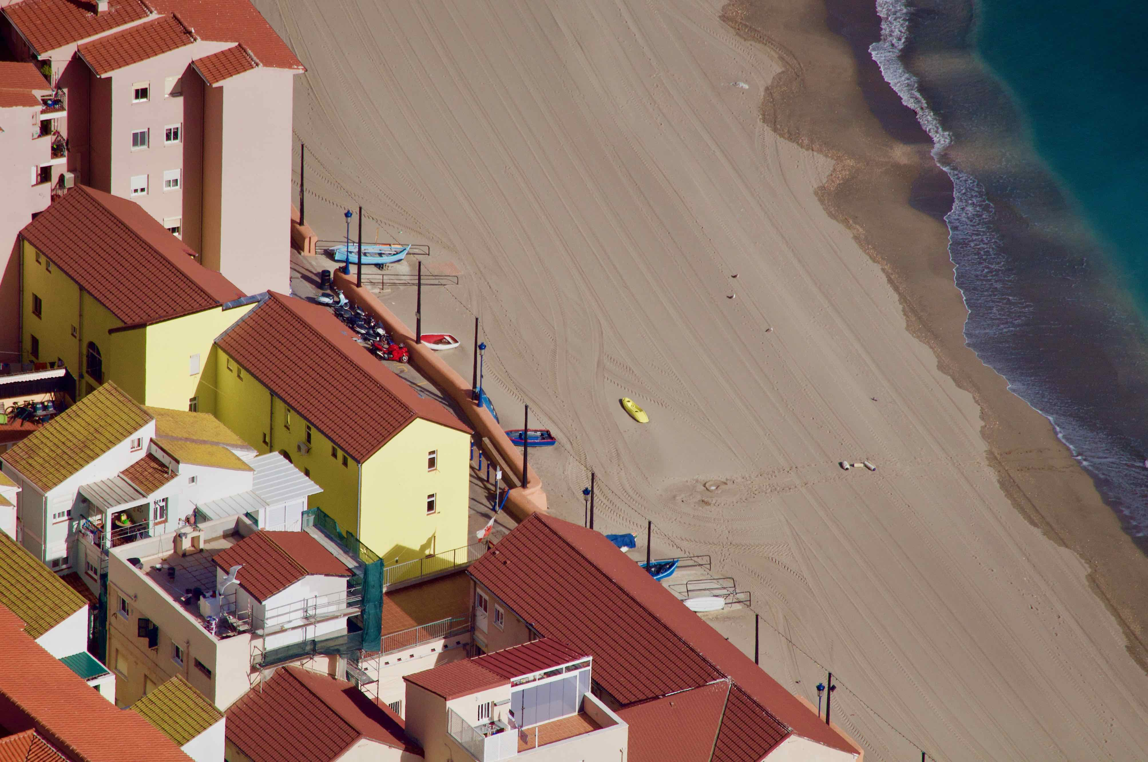 Gibraltar, bird perspective, colorful photo, from above, beach